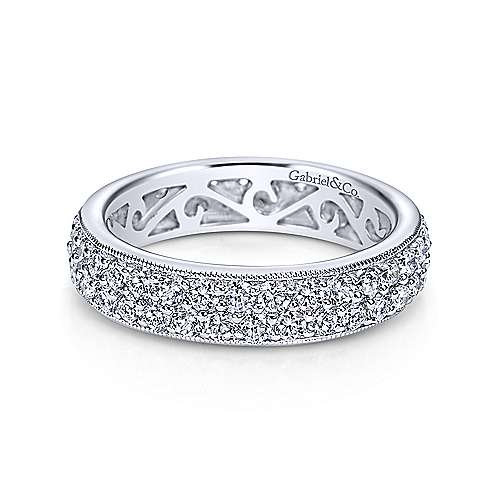 Vintage 14k White Gold Pavé Eternity Band