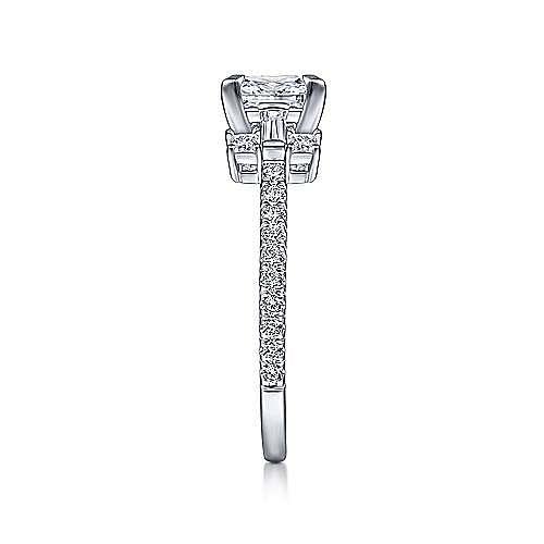 Vintage 14k White Gold Princess Cut Three Stone Diamond Engagement Ring