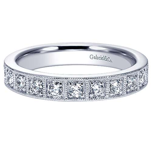 Gabriel - Vintage 14k White Gold Prong Set Band