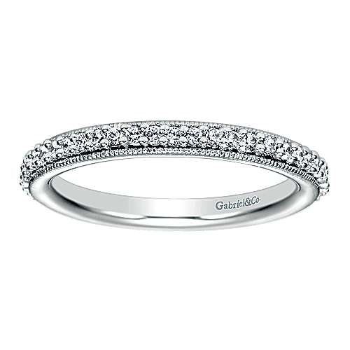 Vintage 14k White Gold Prong Set Eternity Band