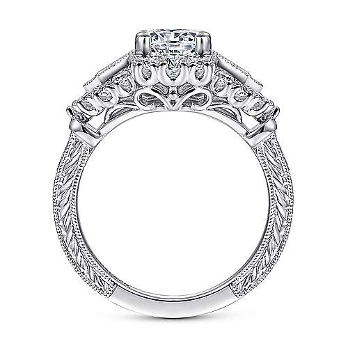 Vintage 14k White Gold Round Diamond Engagement Ring
