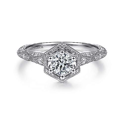 Gabriel - Vintage 14k White Gold Round Diamond Engagement Ring