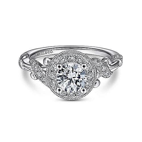 Gabriel - Vintage 14k White Gold Round Halo Diamond Engagement Ring