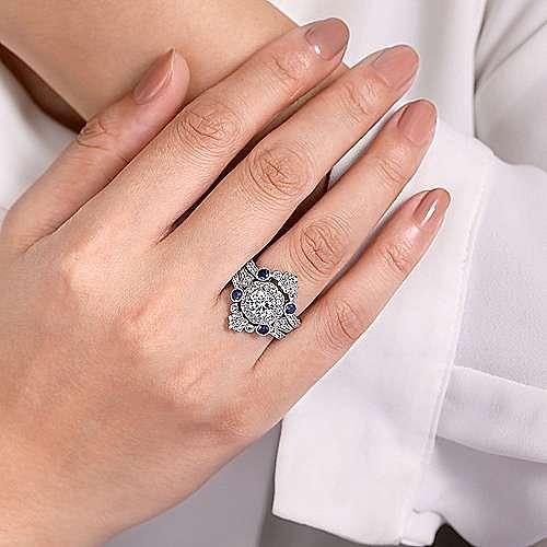 Vintage 14k White Gold Sapphire and Diamond Enhancer