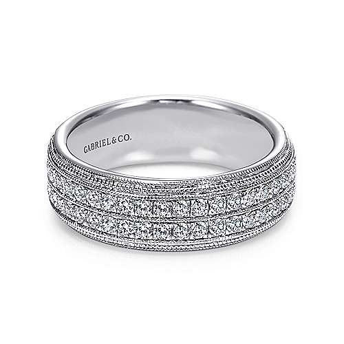 Vintage 14k White Gold Two Row Micro Pavé Anniversary Band