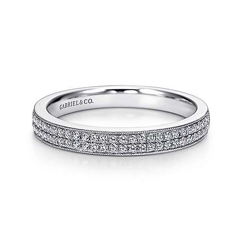 Gabriel - Vintage 14k White Gold Two Row Micro Pavé Channel Set Band