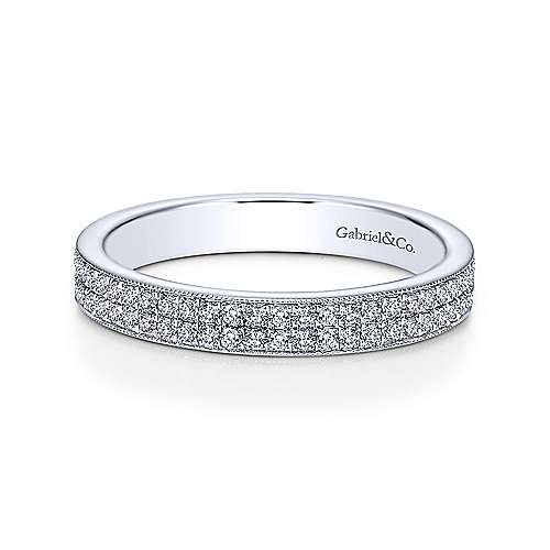 Gabriel - Vintage 14k White Gold Two Row Micro Pavé Eternity Band