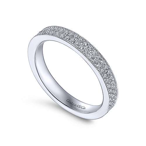 Vintage 14k White Gold Two Row Micro Pavé Eternity Band
