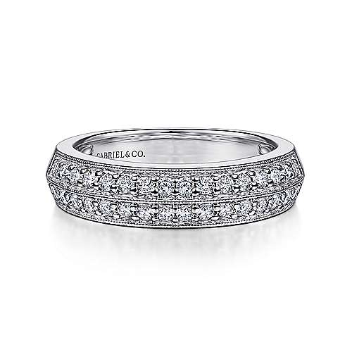 Gabriel - Vintage 14k White Gold Two Row Prong Set Band