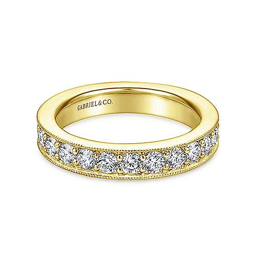 Gabriel - Vintage 14k Yellow Gold Channel Prong Set Eternity Band