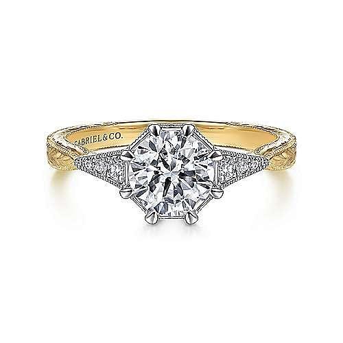 Gabriel - Vintage 14k Yellow/White Gold Round Diamond Engagement Ring