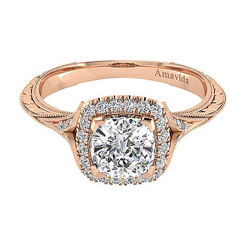 Vintage 18k Rose Gold Cushion Halo Diamond Engagement Ring Er11341c6k83jj