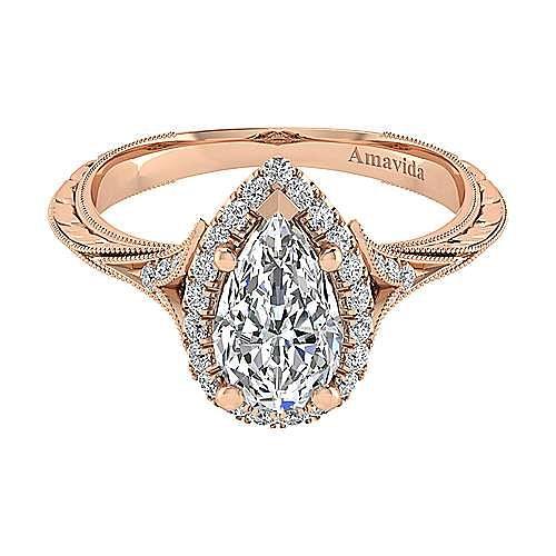 Vintage 18K Rose Gold Pear Shape Halo Diamond Engagement Ring ,  ER11341P6K83JJ