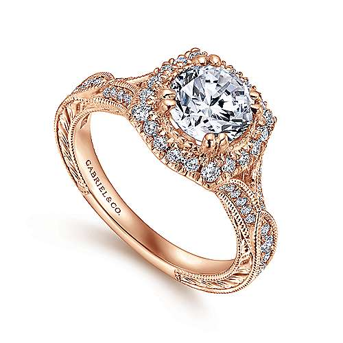 Vintage 18K Rose Gold Round Halo Sapphire and Diamond Engagement Ring