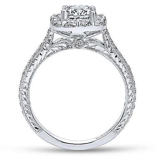 Vintage 18K White Gold Cushion Halo Diamond Engagement Ring