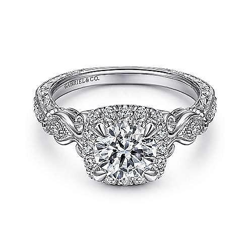 Gabriel - Vintage 18K White Gold Cushion Halo Round Diamond Engagement Ring
