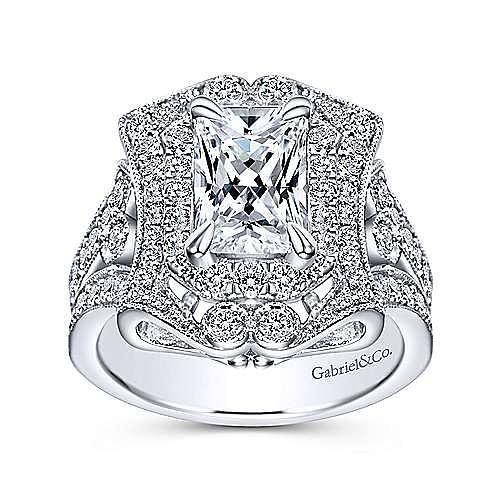 Vintage 18K White Gold Emerald Halo Diamond Engagement Ring