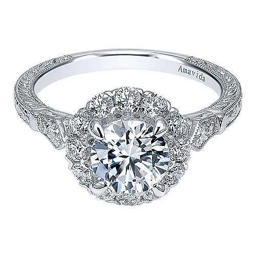 Gabriel - Vintage 18K White Gold Round Halo Diamond Engagement Ring