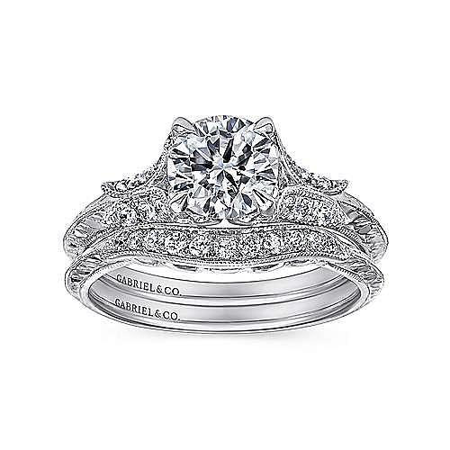 Vintage 18K White Gold Round Split Shank Diamond Engagement Ring