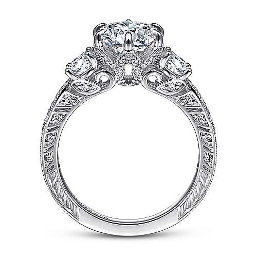 Vintage 18K White Gold Round Three Stone Diamond Engagement Ring
