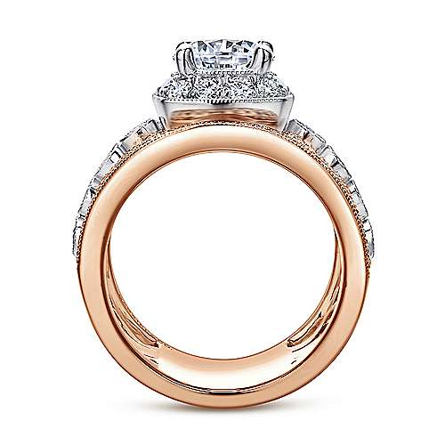 Vintage 18K White-Rose Gold Round Halo Diamond Engagement Ring