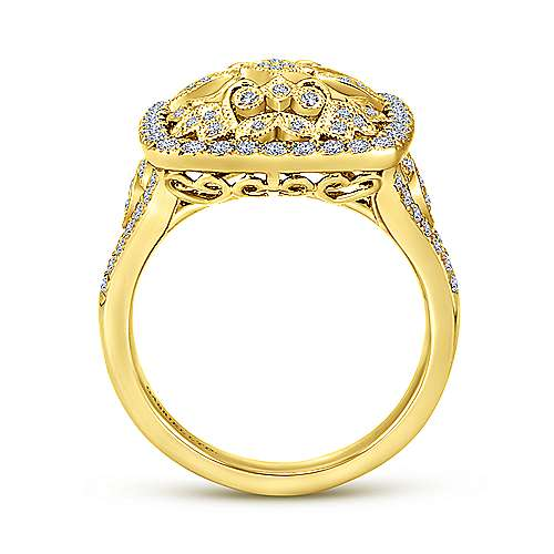 Vintage 18K Yellow Gold Cushion Shaped Floral Openwork Pave Diamond Ring