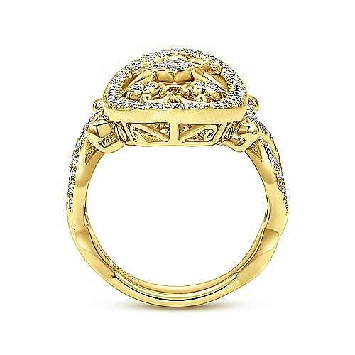 Vintage 18K Yellow Gold Oval Openwork Pavé Diamond Statement Ring