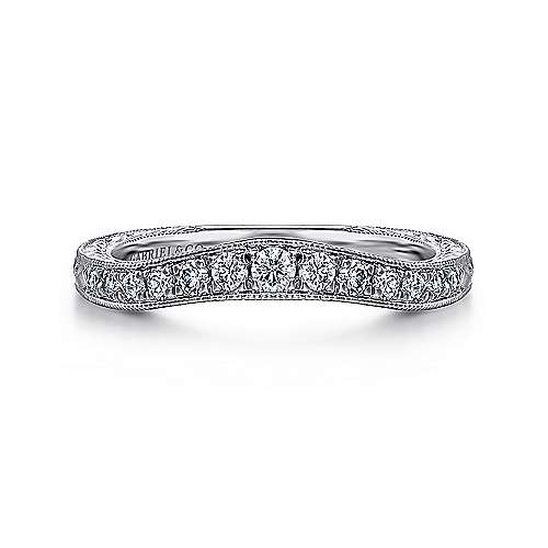 Vintage Hand Carved 14k White Gold Curved Micro pave Set Band