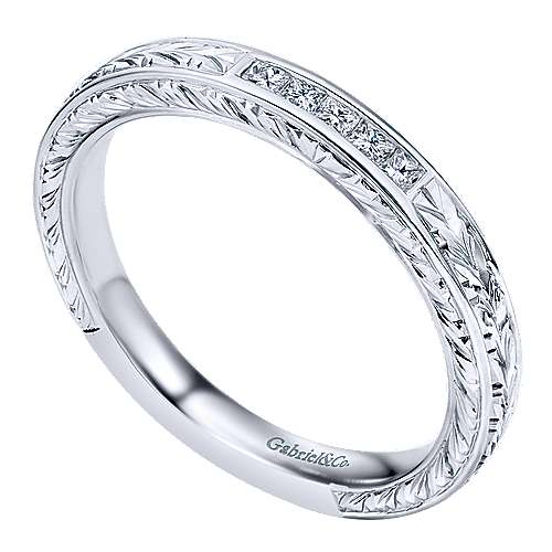 Vintage Hand Carved 14k White Gold Princess Cut 5 Stone Channel Set Band