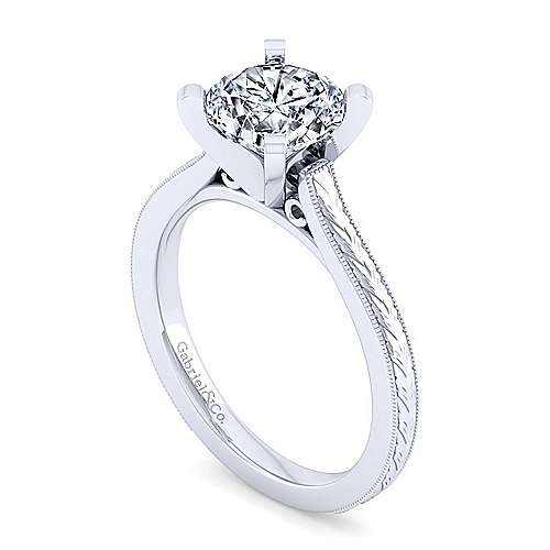 Vintage Inspired  14K White Gold Round Solitaire Engagement Ring