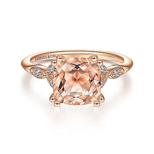 Vintage Inspired 14K Rose Gold Cushion Cut Morganite and Diamond Engagement Ring