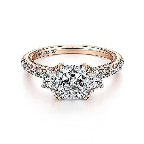 Vintage Inspired 14K Rose Gold Cushion Cut Three Stone Diamond Engagement Ring