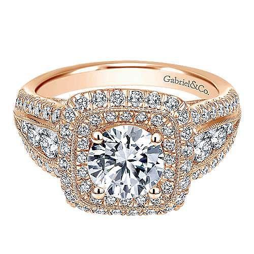 Vintage Inspired 14K Rose Gold Cushion Double Halo Round Diamond Engagement Ring