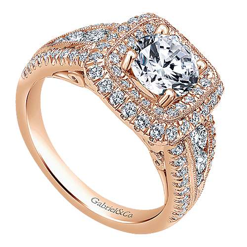 Vintage Inspired 14K Rose Gold Cushion Double Halo Round Diamond Engagement Ring
