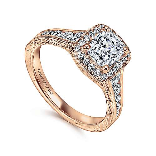 Vintage Inspired 14K Rose Gold Cushion Halo Diamond Engagement Ring