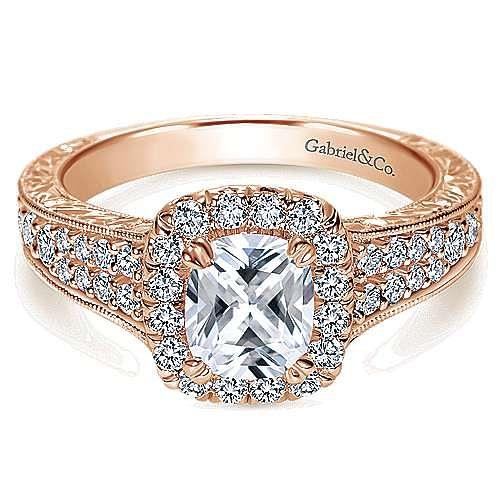 Vintage Inspired 14K Rose Gold Cushion Halo Diamond Engagement Ring