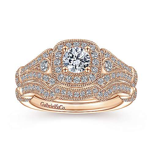 Vintage Inspired 14K Rose Gold Cushion Halo Round Complete Diamond Engagement Ring