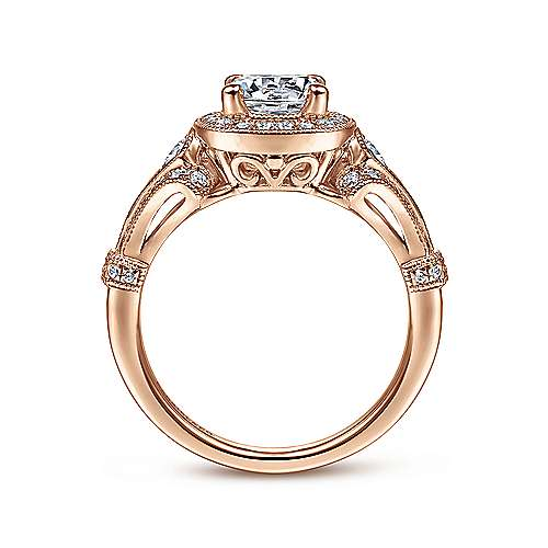 Vintage Inspired 14K Rose Gold Cushion Halo Round Diamond Engagement Ring