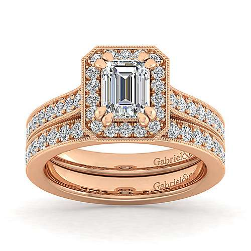 Vintage Inspired 14K Rose Gold Emerald Halo Diamond Engagement Ring