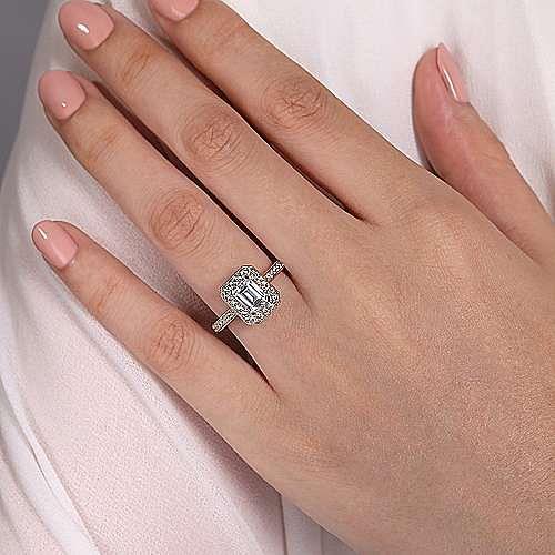 Vintage Inspired 14K Rose Gold Emerald Halo Diamond Engagement Ring