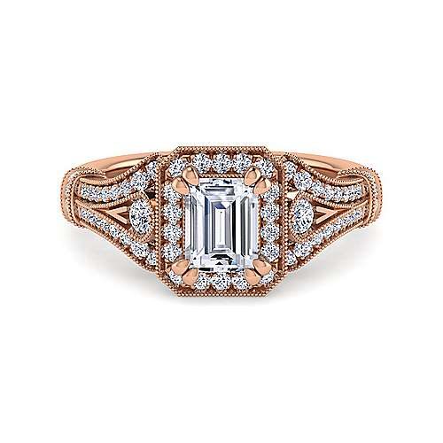 Vintage Inspired 14K Rose Gold Halo Emerald Cut Diamond Engagement Ring