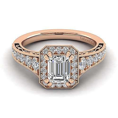 Vintage Inspired 14K Rose Gold Halo Emerald Cut Diamond Engagement Ring