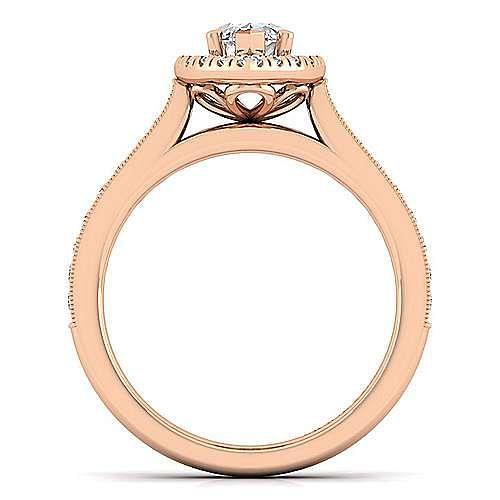 Vintage Inspired 14K Rose Gold Marquise Halo Diamond Engagement Ring