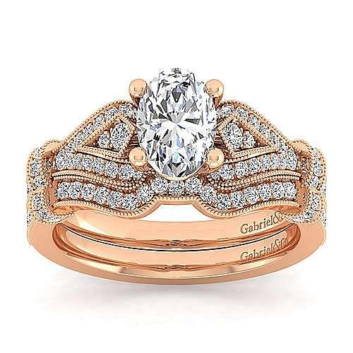 Vintage Inspired 14K Rose Gold Oval Diamond Engagement Ring