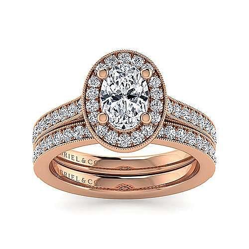 Vintage Inspired 14K Rose Gold Oval Halo Diamond Engagement Ring