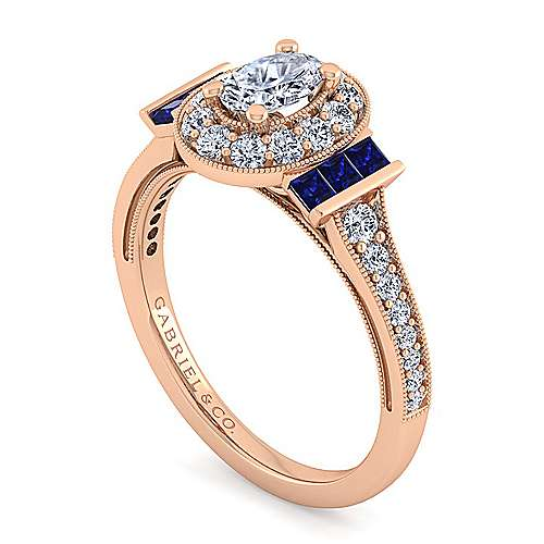 Vintage Inspired 14K Rose Gold Oval Halo Diamond and Sapphire Engagement Ring