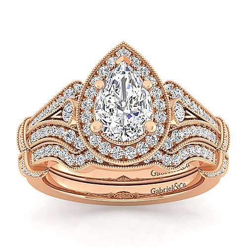 Vintage Inspired 14K Rose Gold Pear Shape Halo Diamond Engagement Ring
