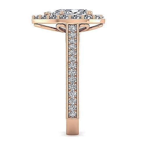 Vintage Inspired 14K Rose Gold Pear Shape Halo Diamond Engagement Ring