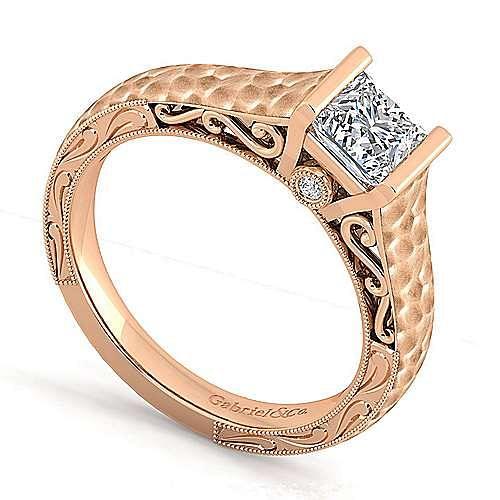 Vintage Inspired 14K Rose Gold Princess Cut Diamond Engagement Ring