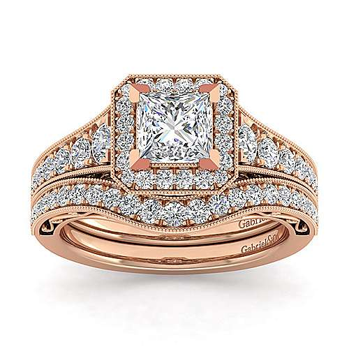 Vintage Inspired 14K Rose Gold Princess Halo Diamond Engagement Ring